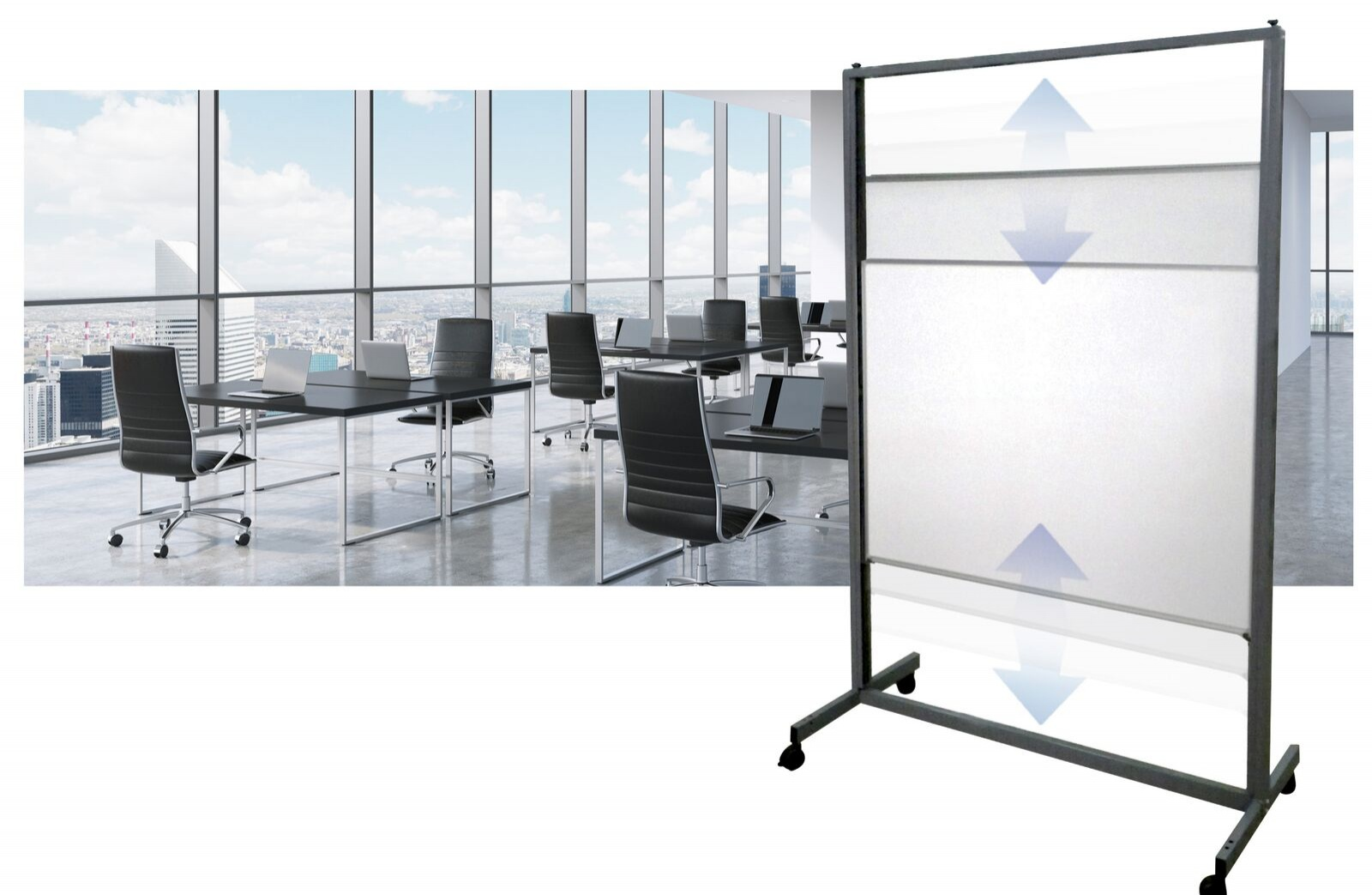 Asphire Vertical Sliding Mobile Whiteboard
