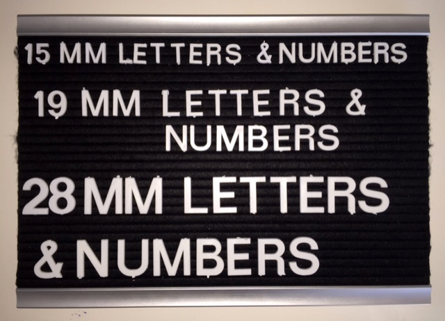 15mm, 19mm & 28mm Letters