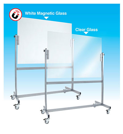 Mobile Glass Whiteboard White Clear