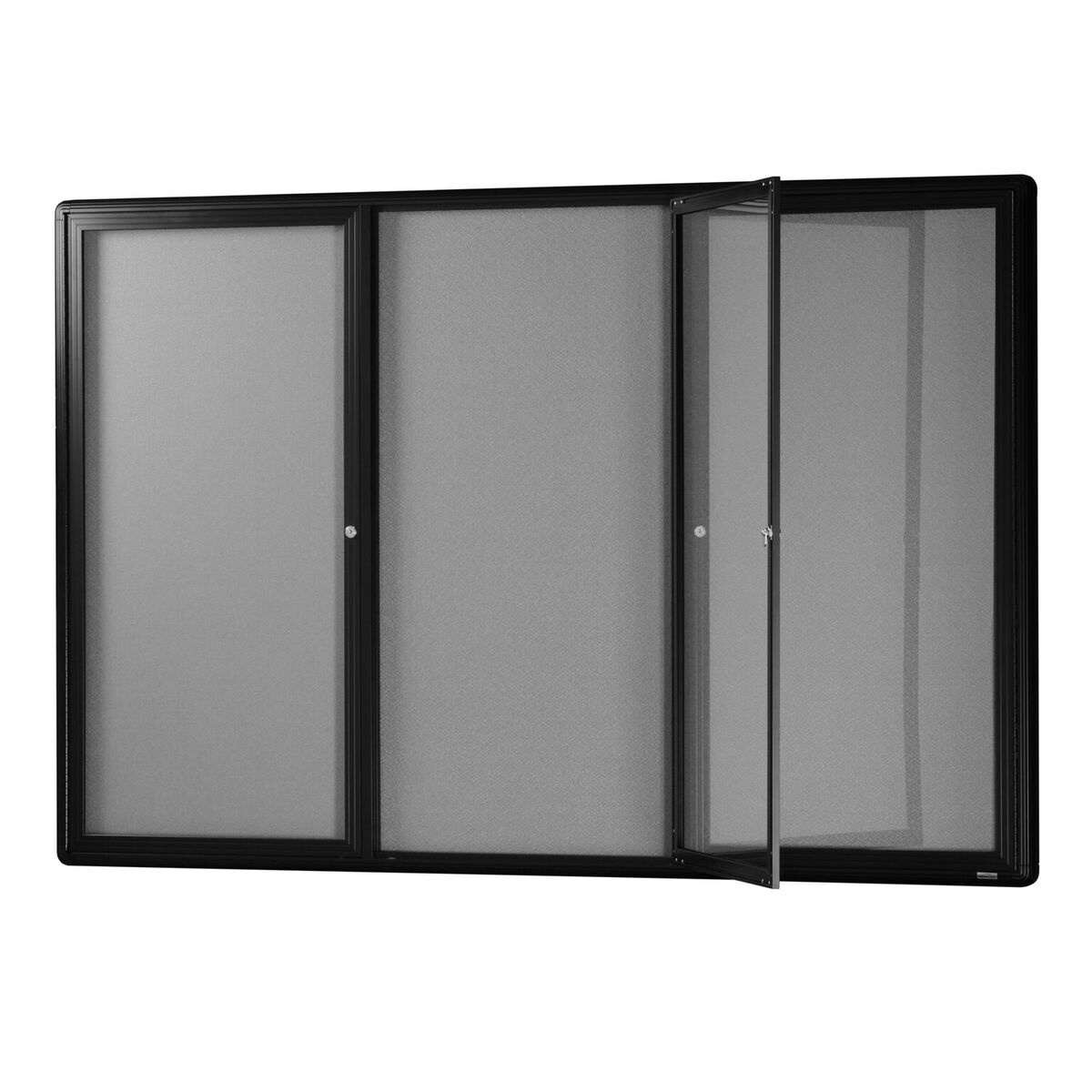 Hinged Three Door Glass Case *Grey Felt/ Black Frame*