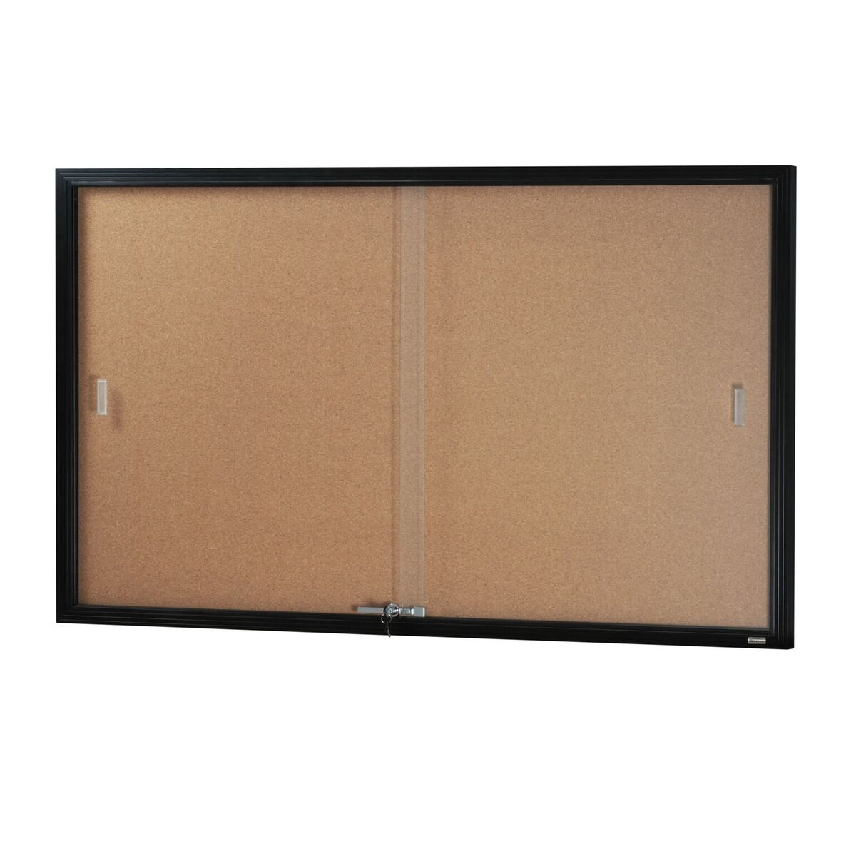 Two Door Glass Sliding Case *Cork Backing/ Black Frame*