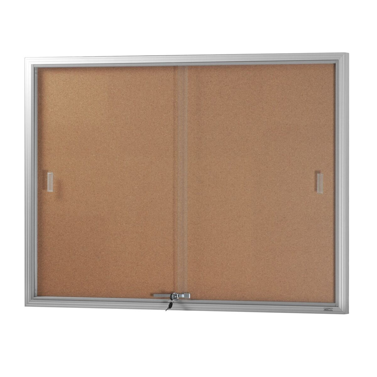 Two Door Glass Sliding Case *Cork Backing/ Silver Frame*