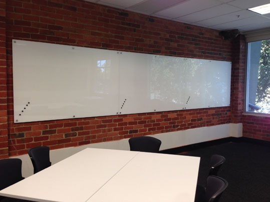 White Magnetic Glassboard Wall *Silver Fittings*