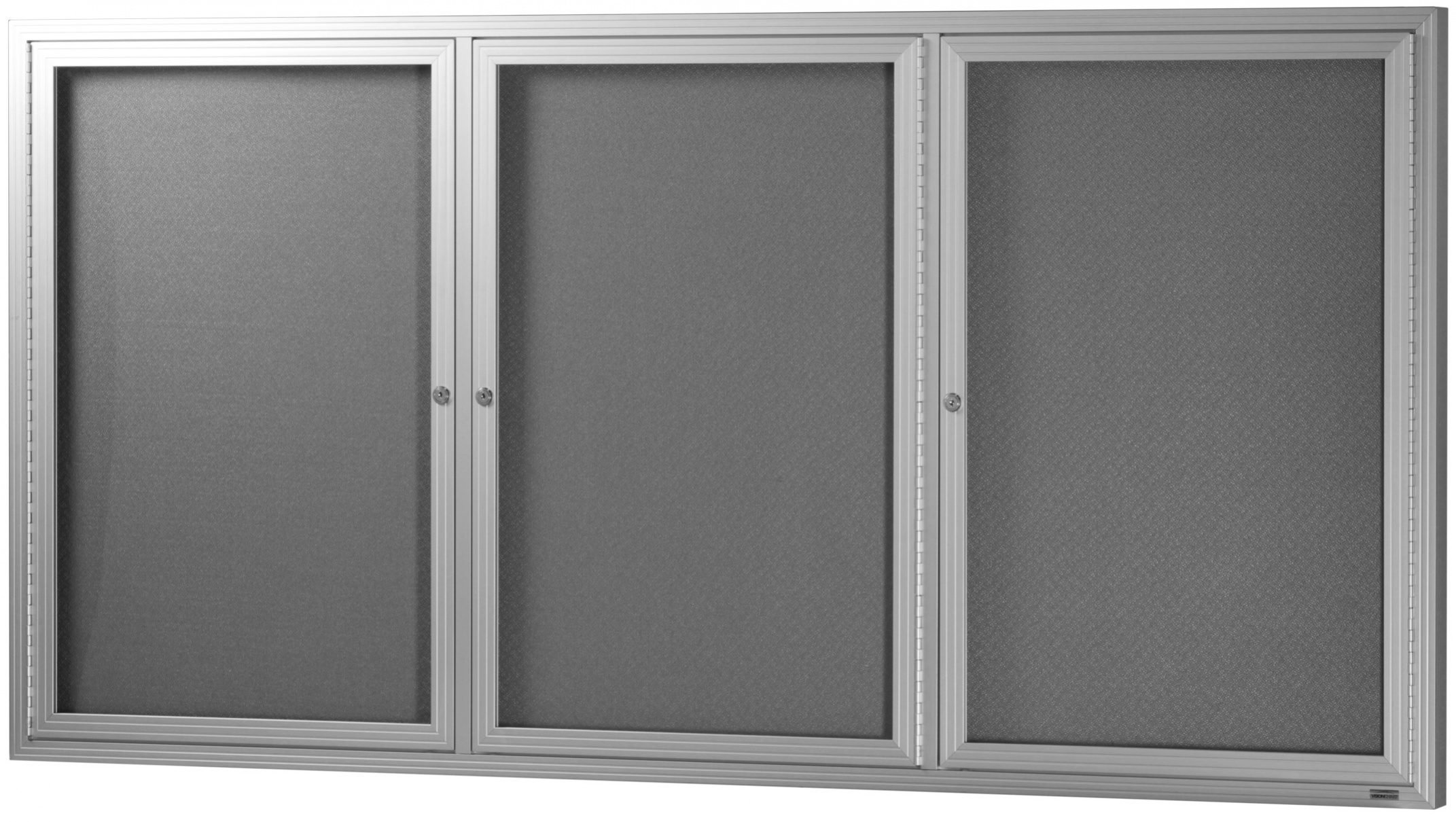 Hinged Three Door Glass Case *Grey Felt/ Silver Frame*