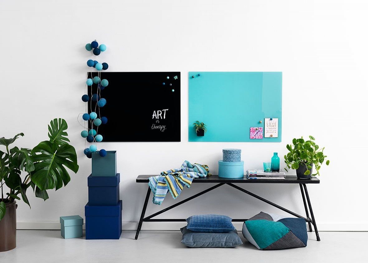 600 x 800 NAGA Magnetic Glassboards - Black & Turquoise