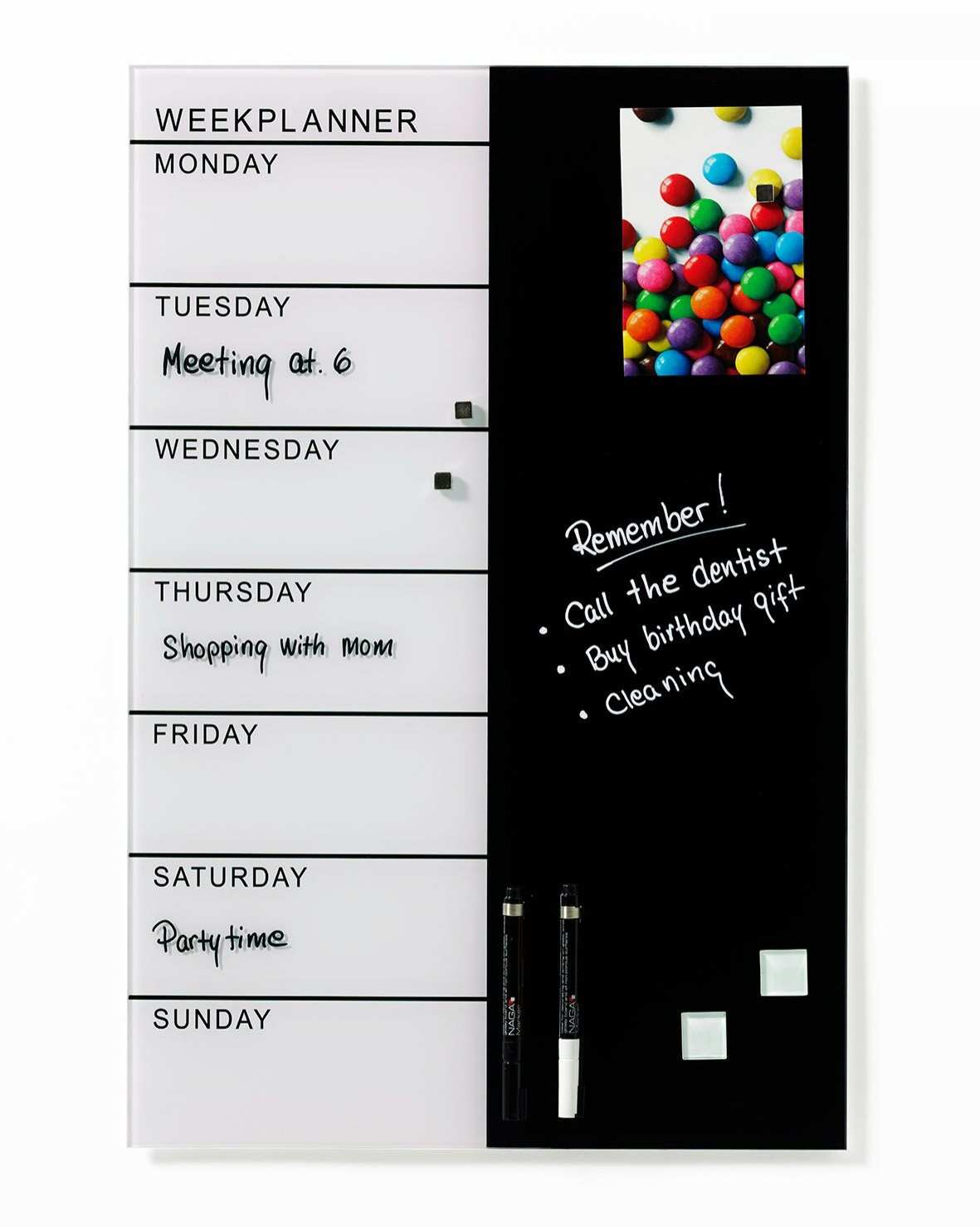 NAGA Black & White Magnetic Weekly Planner - 400 x 600