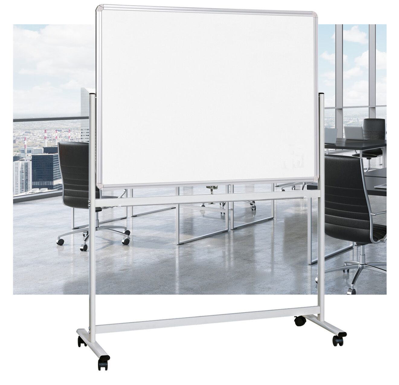 Double Sided Mobile Pivoting WhiteBoard