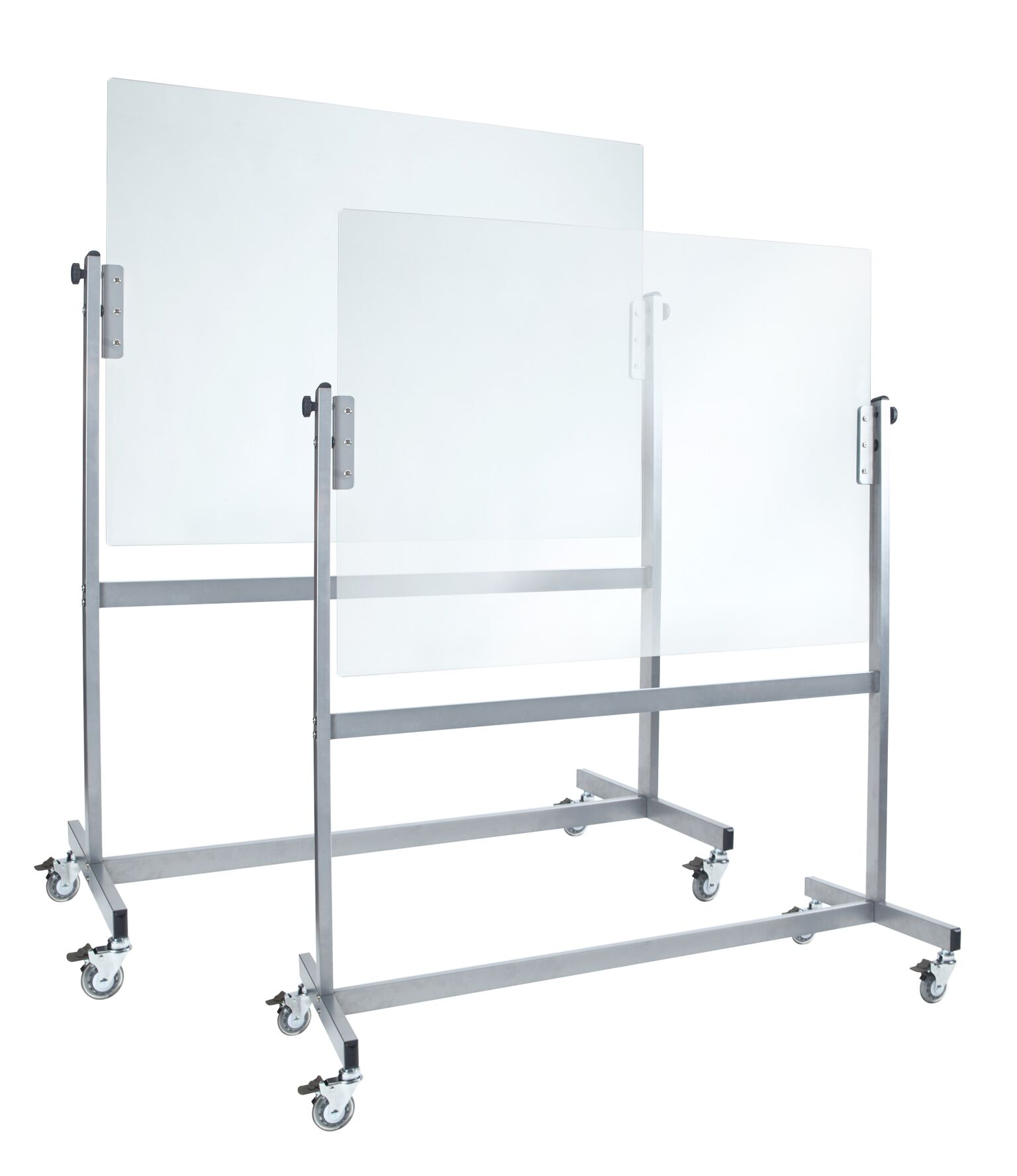 Two Double Sided Pivoting White Glassboards