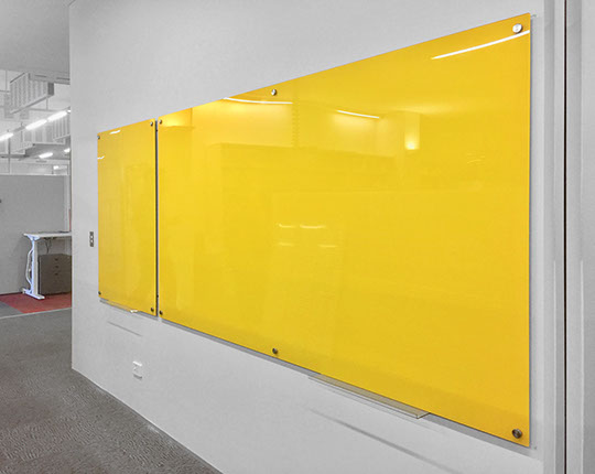 Yellow Coloured Glass Magnetic Board, wipe the board clean with dry cloth