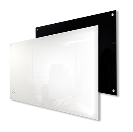 Black or White Dry Erase Glass Board. Perfect glass surface white board. Professionally installed wall anchors for long term use